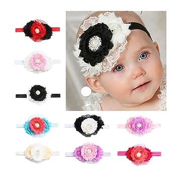6153d95887e420 CHSEEA 9 Stück Baby Stirnbänder Elastische Haarband Turban Kleinkind  Stirnband Haar Bogen Fliege Schleife Haarreifen Mädchen