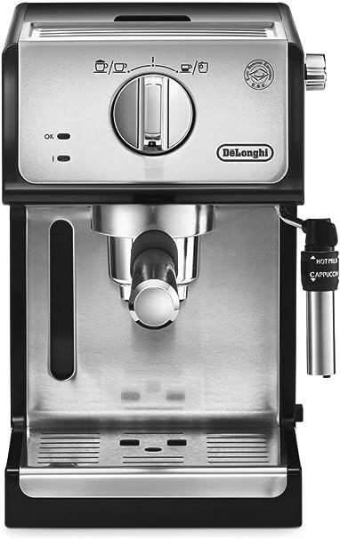 Delonghi - Cafetera de Bomba Tradicional para Espresso y Cappuccino, Admite Café Molido y Monodosis, 2 Tazas Simultáneamente, Depósito de Agua de 1.1 l, 1100 W, ECP 35.31, Negro y Plata: Amazon.es: Hogar