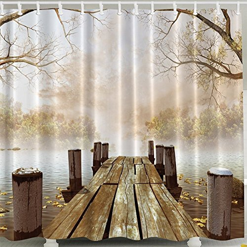 Bridge House Decor Shower Curtain Set, Rustic and Country Fall Wooden Bridge Dock Foggy Scene Lake River Nature Scenery Print, Waterproof Polyester Fabric Bath Curtain Brown Beige Kahaki Yellow 72inch (River Dock)