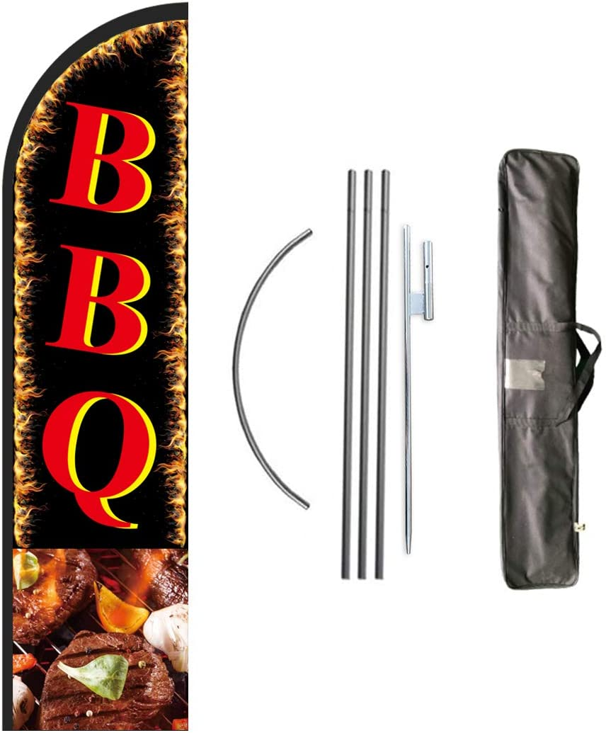 Nobrandd Complete Swooper Flag Pole Kit for Barbecue Businesses,BBQ Advertising Banner Kit Include 8 Feet Tall Feather Flag,Banner Pole,Ground Spike and Travel Bag-12 Feet