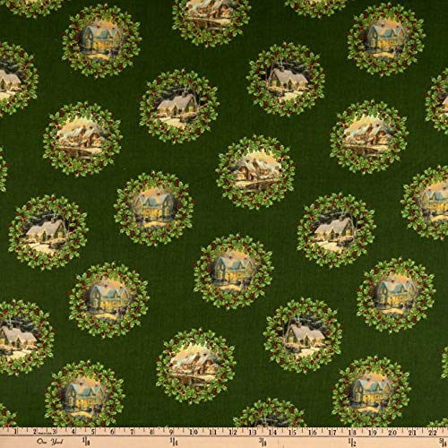 Benartex Spirit of Christmas Scenic Wreath Forest, Fabric by the Yard
