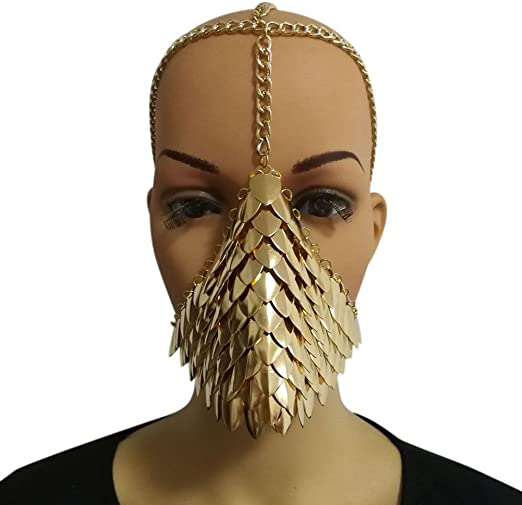 European Personality Punk Alloy Metal Tassel Chains Face Mask Party Wear