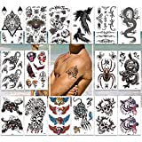Temporary Tattoos Pack of 16 Sheets for Men Teens GuysBoys Large Fake Tattoo Stickers,200+ Body tattoos Designs,Cool Collection for Arms Shoulders Chest & Back