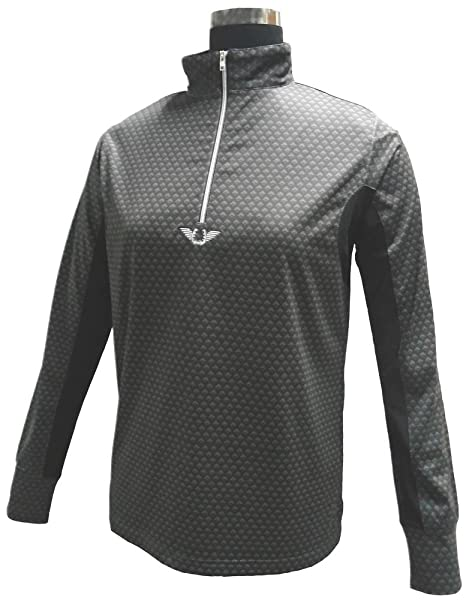 Tuffrider Ladies Neon Ventilated Mock Zip Long Sleeve Shirt with Mesh