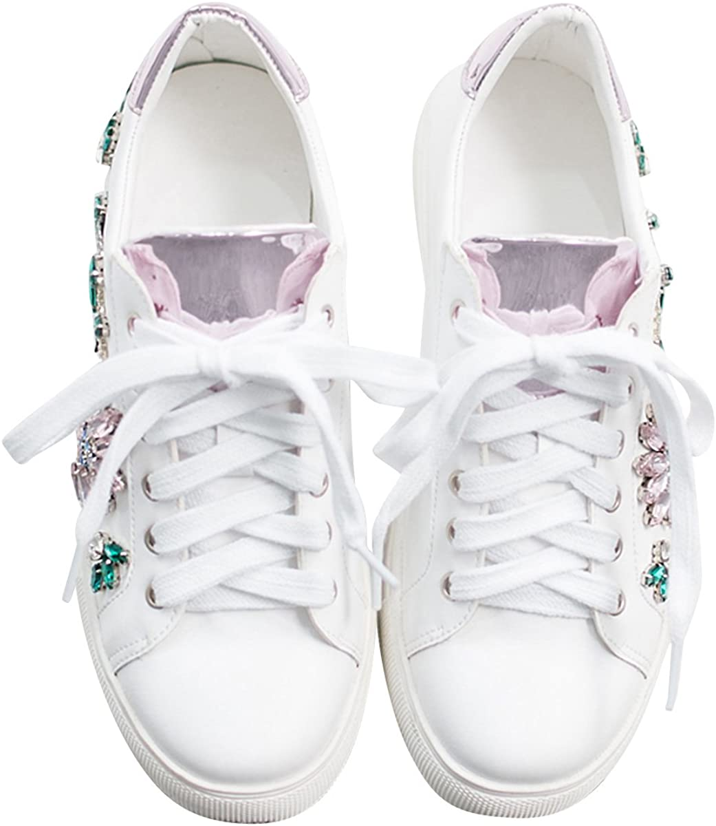 AnnaKastle Womens Crystal Embellished Floral Lace Up Fashion Sneakers