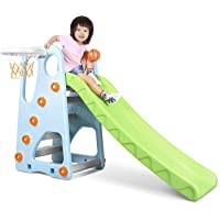 MaxKare Kids Slide Joy Exercise Play Toddler Slide with Basketball Hoop Playground Slipping Slide Climber Playset for Playground & Home Use