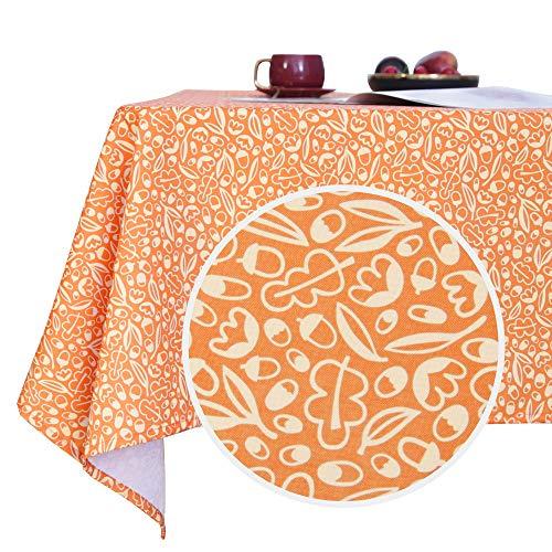 Deconovo Mantel Mesa Rectangular Decorativo Antimanchas Rectangular Cocina Festival para Fiesta 140 x 140 cm Naranja