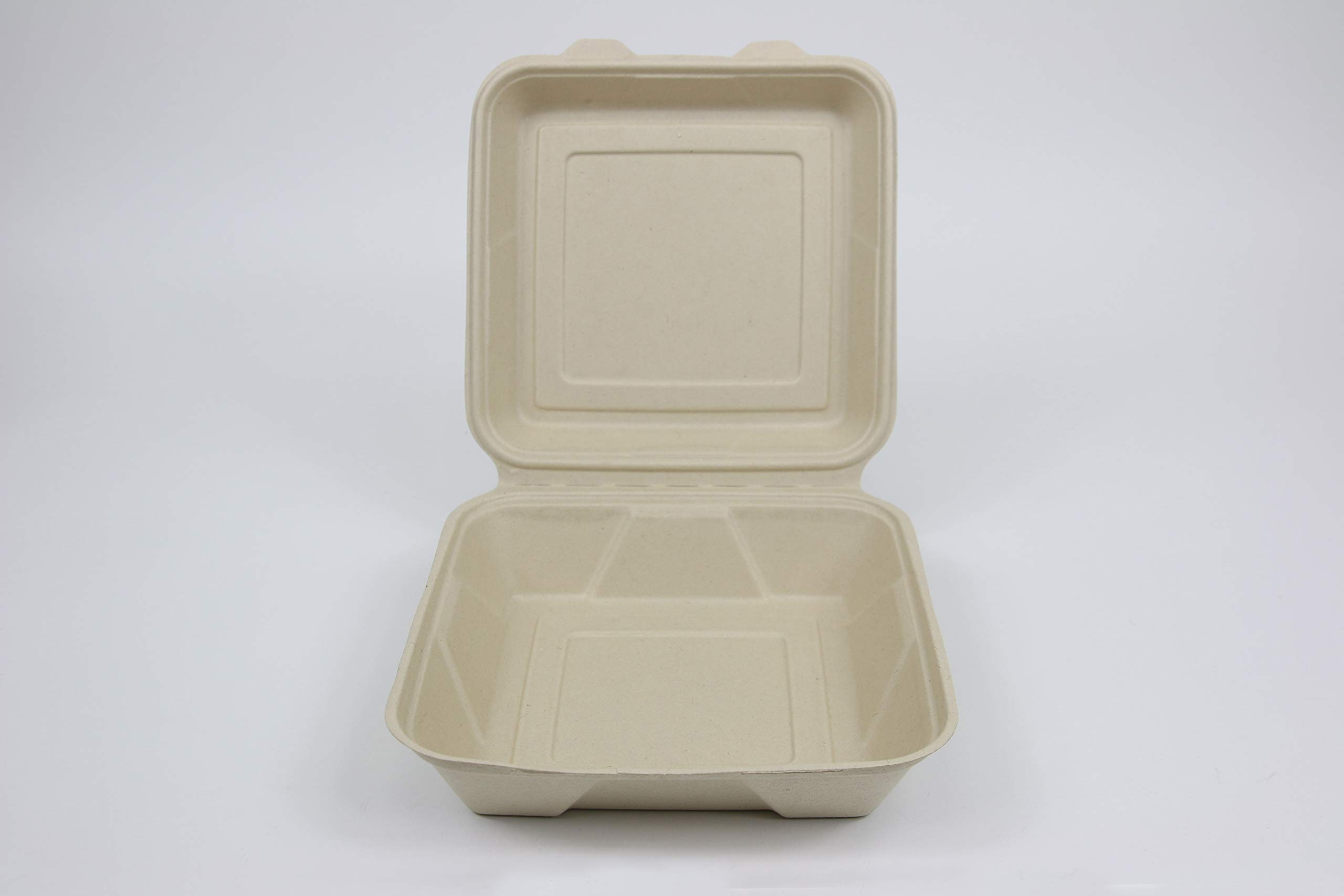 Total Papers, 9''x 9'' Single Compartment Clam Shell Container, 200 per case. Environmentally Responsible 100% Biodegradable, Compostable Wheat Straw Fiber (NO Bagasse, NO Bleach) Tree Free