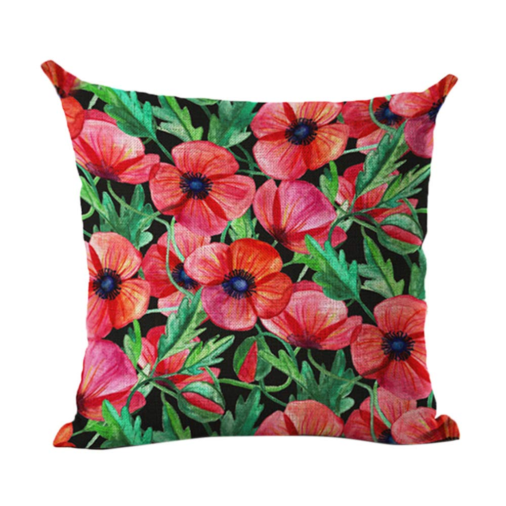 federa per cuscino in lino con foglie e piante verdi tropicali Amesii arredo per la casa 1 Bird With Green Leaves