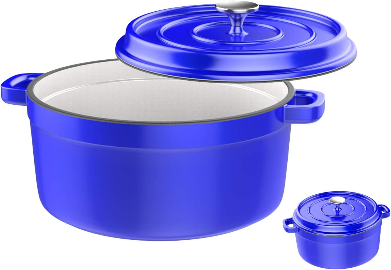 Especo Cast Iron with Lid Enameled Dutch Oven Casserole Dish Nonstick Multi-functional Cookware Large Loop Handles & Self-Basting Condensation Ridges On Lid (4-quart, Blue)
