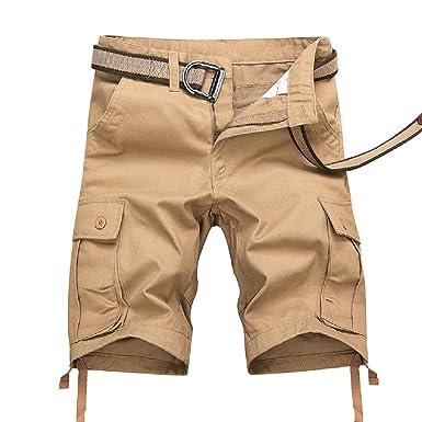 PZJ Shorts para Hombre Pantalones Cortos Hombre Cinturón ...