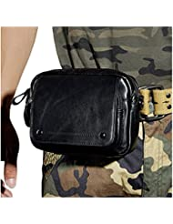 Leaokuu Men Genuine Leather Waist Fanny Pack Hip Bum Small Messenger Travel Bag
