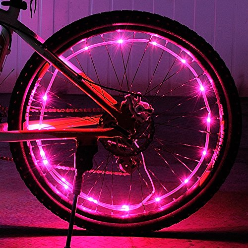 DAWAY Waterproof LED Bike Wheel Light A01+ Bicycle Spoke Light, Cool Light Bike Safety Tire Accessories, Light Up Spokes, Bright, 2 Modes, Battery Included, Easy Install, Gift for Kids Adults, Pink for $<!--$12.97-->