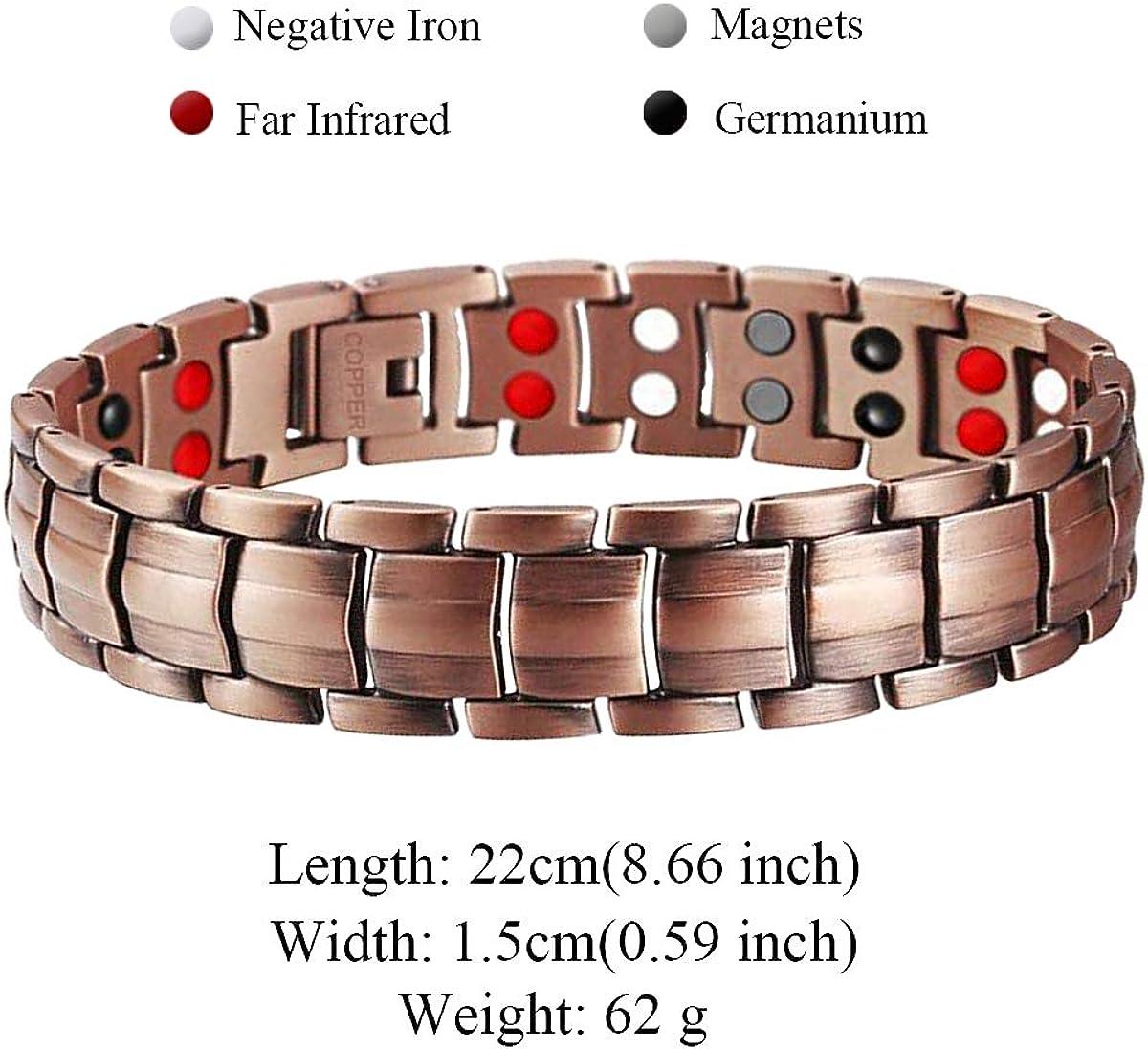 Feraco Mens 99.99/% Pure Copper Bracelet Elegant 4 Element Bracelets with Jewelry Box