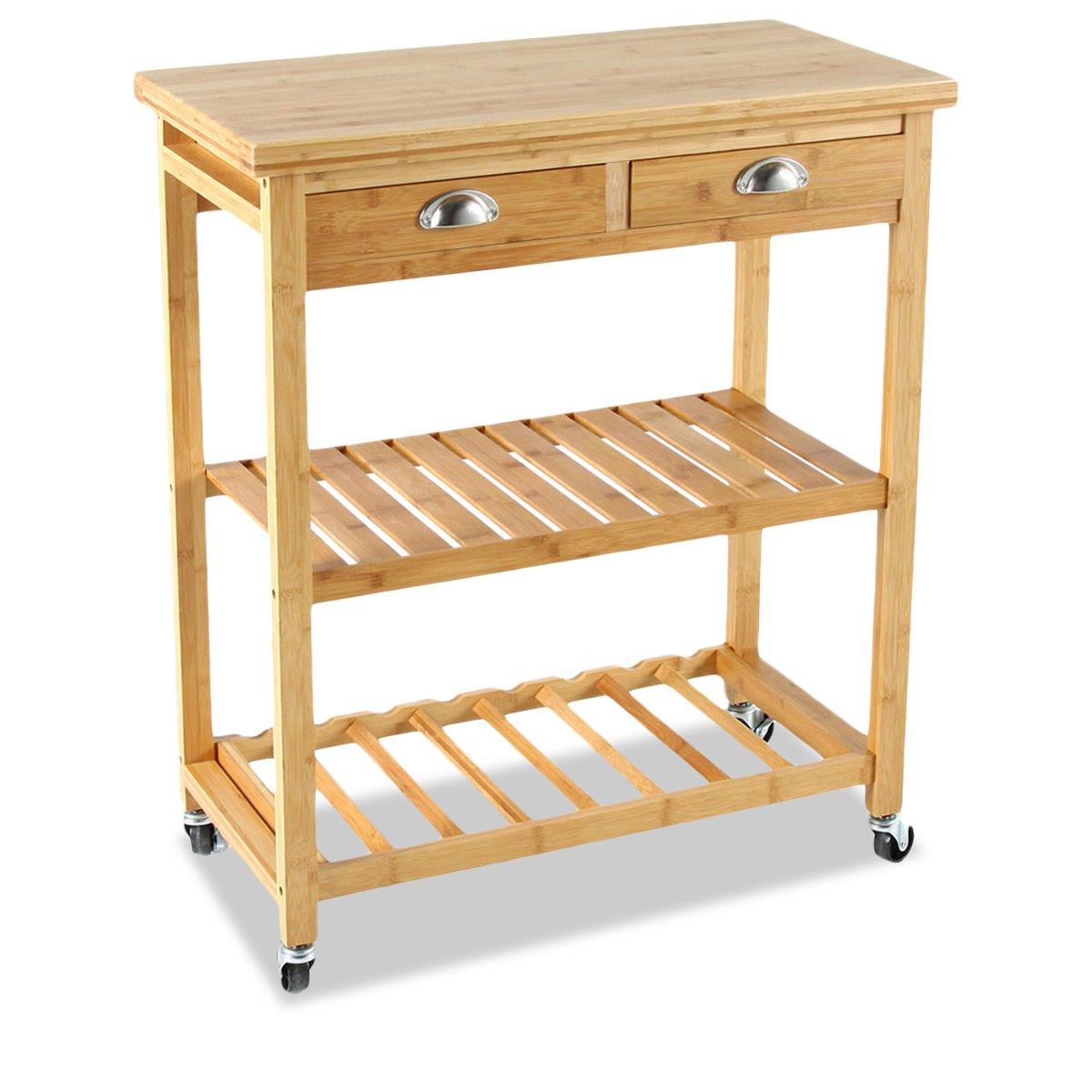 Bambou Küchenwagen auf Rollen, 2 Schubladen, 2 Etagen, aus Bambus