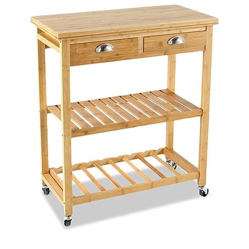 Amazon.De: Bambou Küchenwagen Auf Rollen, 2 Schubladen, 2 Etagen
