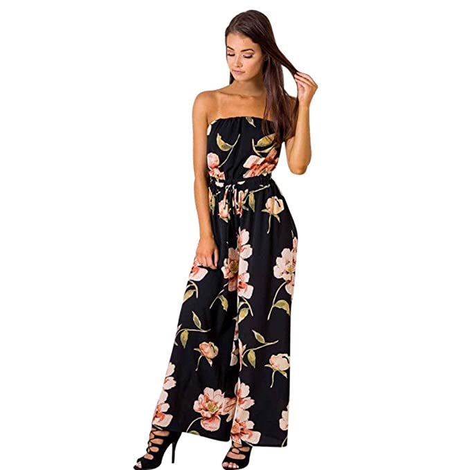 3e454fe87d4 Womens Off Shoulder Floral Romper Jumpsuit Long Pants Sleeveless Playsuit  Teen Girls for Summer (S