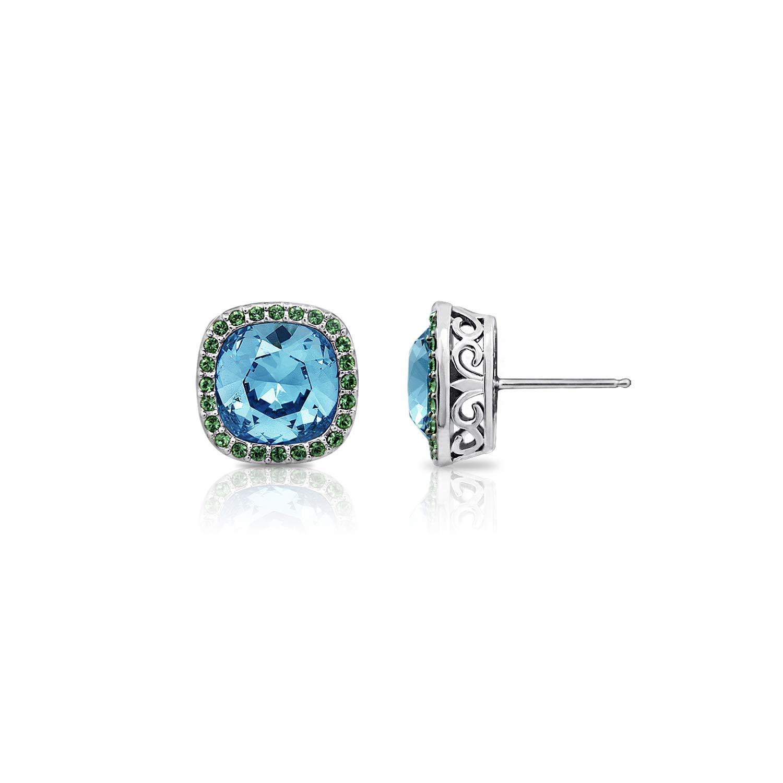 J'ADMIRE 11.5 Carats Swarovski Crystal Cushion Halo Platinum PlatedStud Earrings