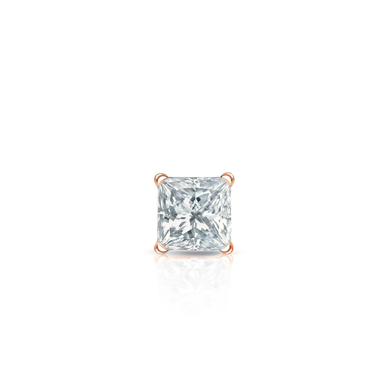 1//8-1cttw,Excellent Quality 14k Rose Gold Princess Diamond Simulant CZ SINGLE STUD Earring 4-Prong