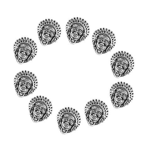 non-brand Sharplace 10 Piezas De Aleación Faraón Máscara Pulsera Conector Encanto Perlas - plata