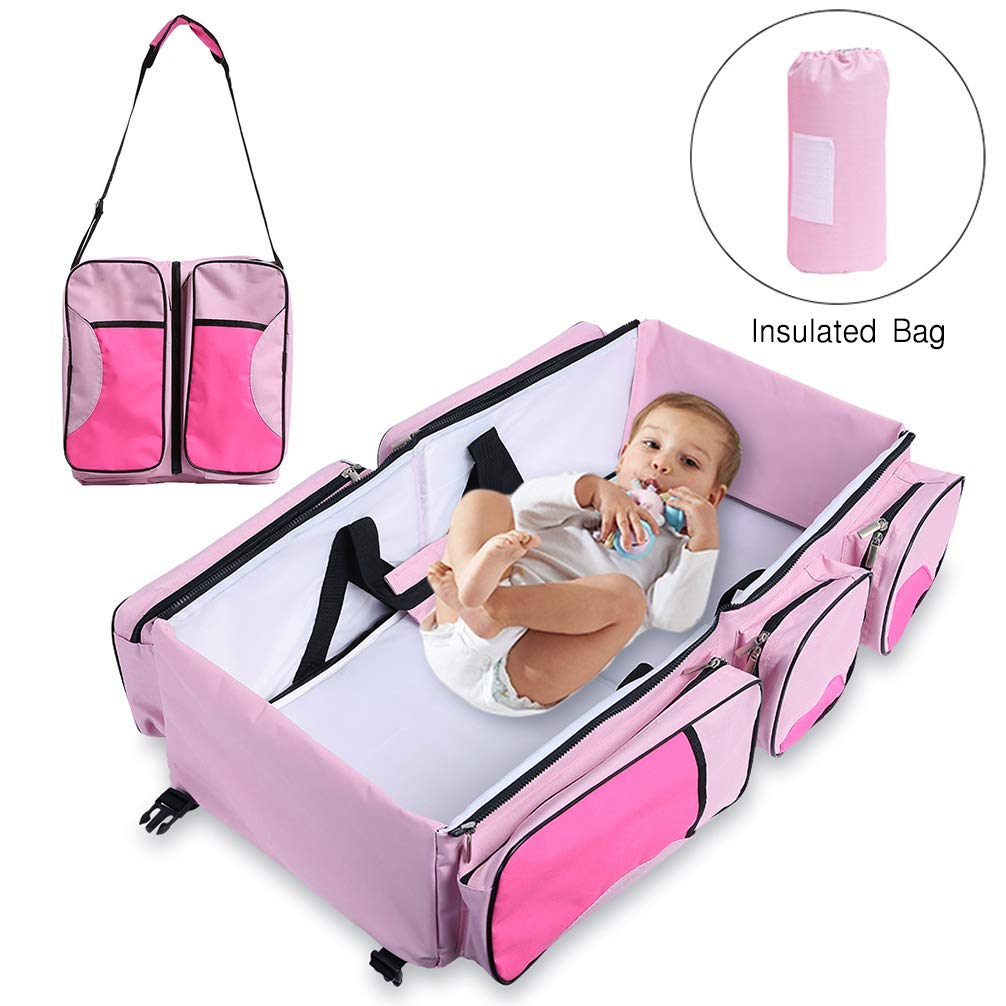 Baabyoo Baby Travel Bed Bag Baby Diaper Bag Portable Baby Diaper Change Station 4 in 1 Folding Baby Bag Newborn Carrier Infant Bassinet Baby Tote Bag Folding Crib Baby Shower Gift (Pink)