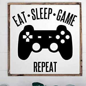 DONL9BAUER Eat Sleep Game Framed Wooden Sign,Video Games Controller Wood Wall Decor Sign, Farmhouse Wooden Plaque Art for Home,Gardens, Porch, Gallery Wall, Coffee Shops.