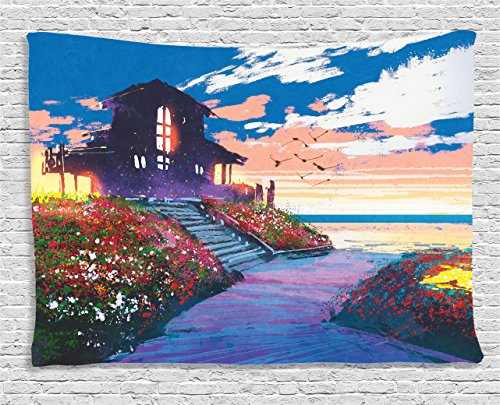 Ambesonne Fantasy Art House Decor Tapestry, Cottage Beach House at Seascape Floral Garden with Gulls Skyline Scene, Wall Hanging for Bedroom Living Room Dorm, 80WX60L Inches, (Fantasy Cottage)