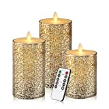 Flameless Candles 3 Pack Set Dripless Real Wax Glass Effect Include Realistic Flickering Flames and 10-key Remote Control with 24-hour Timer Function 400+ Hours By 2 AA Batteires (Mixed-Gold)