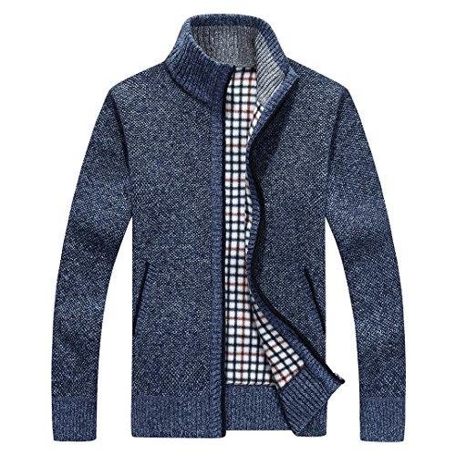 Cotton Zip Front Cardigan (shengweiao Men's Zip Knitted Cardigan Sweater (Large, Dark Blue))