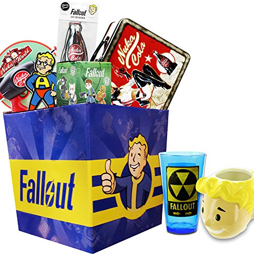 Fallout Gift Box with Exclusive Vault Boy Superhero Pin & Nuka Cola Blaster - Exclusive Box