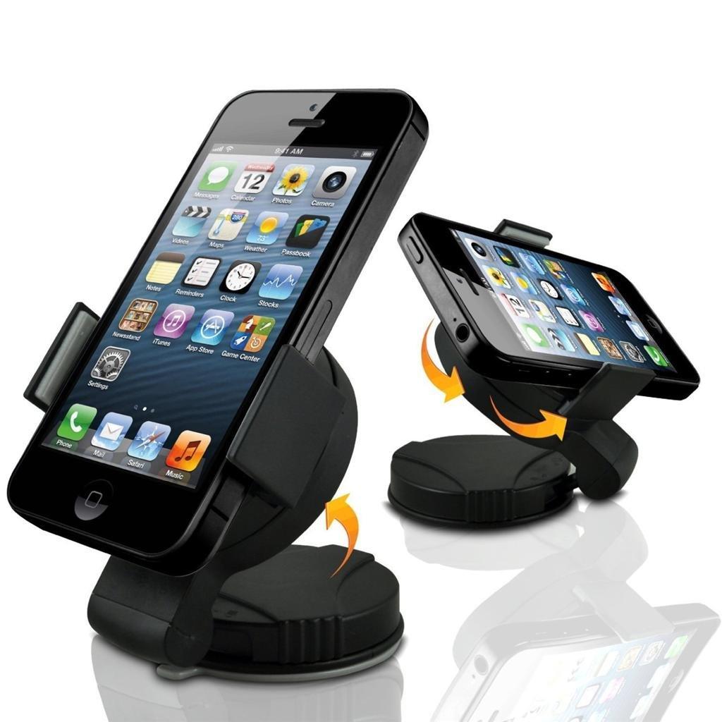 Guilty Gadgets - 360 Rotating Compact Car Holder For Nokia C1 01, C1 02,  C2, C3, C5 03, C6 01, C7, E5, E52, E55, E7, Lumia 610