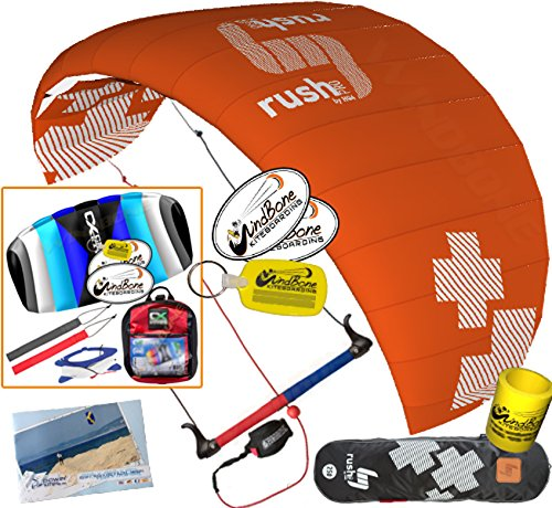 HQ4 HQ Rush V Pro 350 Trainer Power Kite CXS Bundle : (5 Items) Includes 2ND Kite : CX 1.5M Foil Control Strap Kite + WindBone Kiteboarding Lifestyle Decals + Key Chain + Koozy