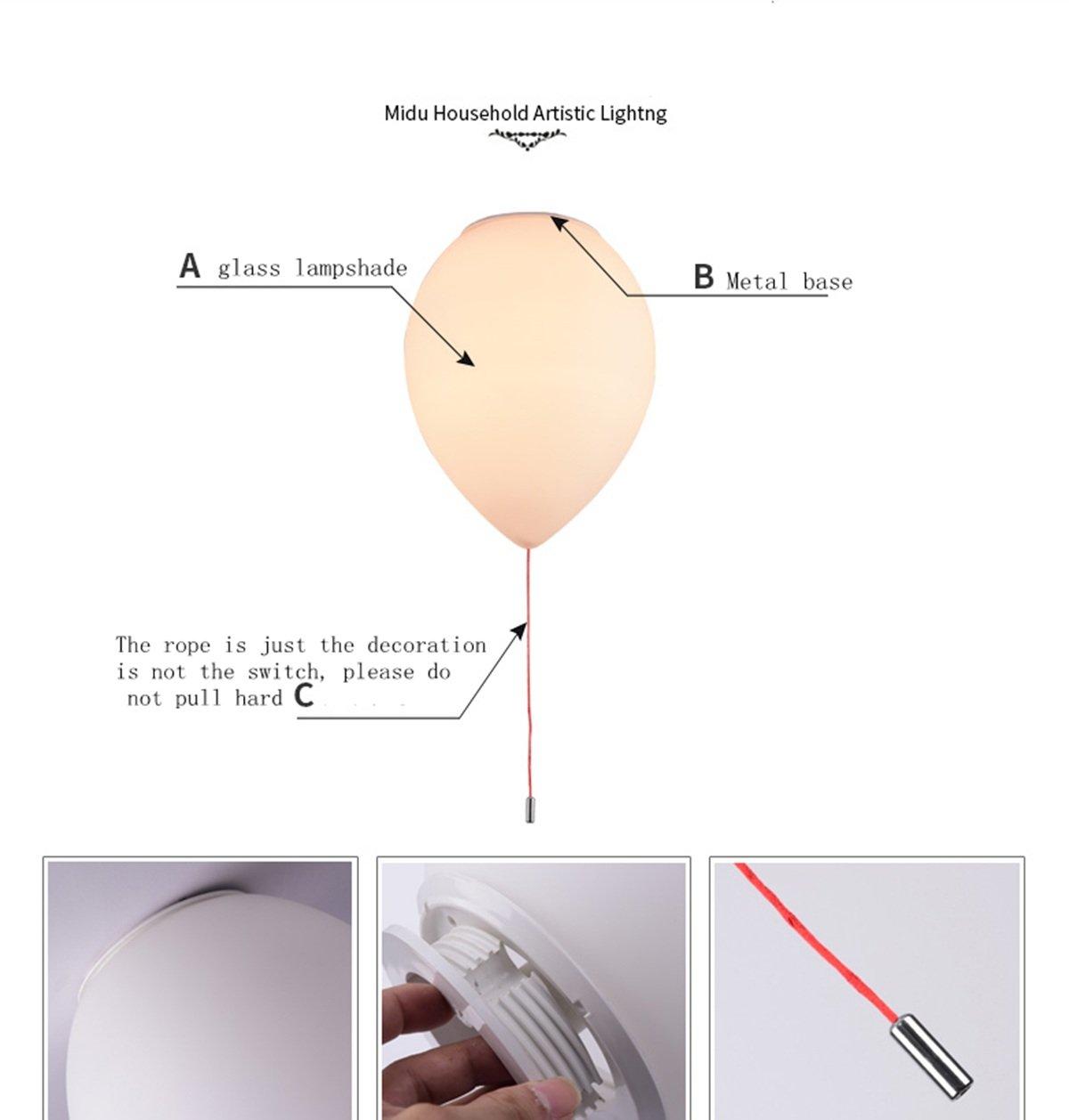 LEDMLSH Ballon Deckenleuchte Einfache Schlafzimmer Zimmer Study Zimmer Balkon Restaurant Kreatives Wohnzimmer Kinderzimmer Lampen nicht enthalten Lichtquelle gr/ö/ße : 1 light 32 * 24cm