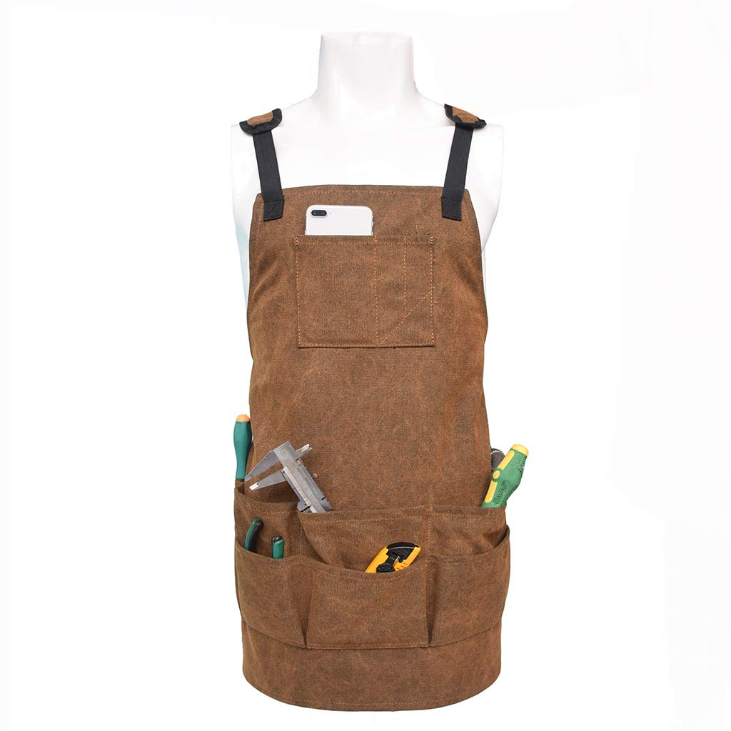Waterproof /& Protective Adjustable perfeclan Professional Canvas Work Apron Bib with Different Size Tool Pockets