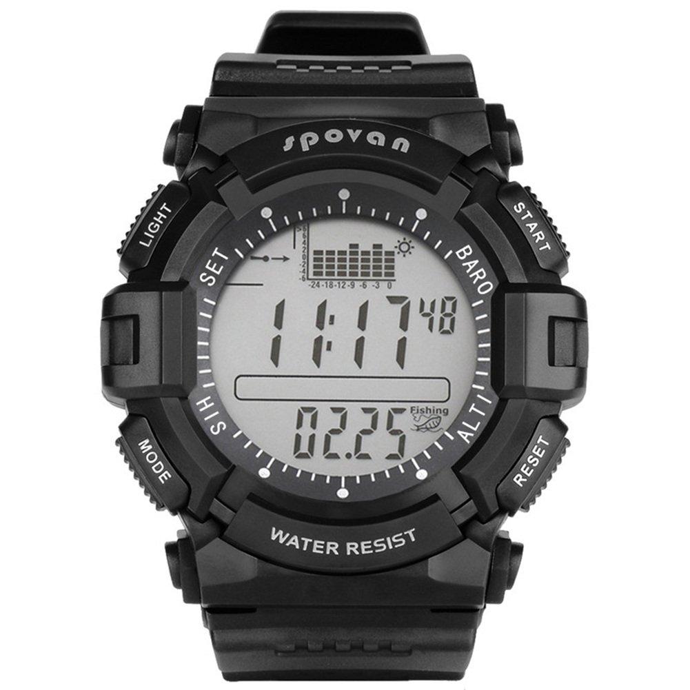 flower 205 SPOVAN Hommes Montre de sport numérique extérieure montre-bracelet imperméable à l'eau, rappel de pêche/prévisions météorologiques/LED rétro-éclairage/chronomètre SPV706
