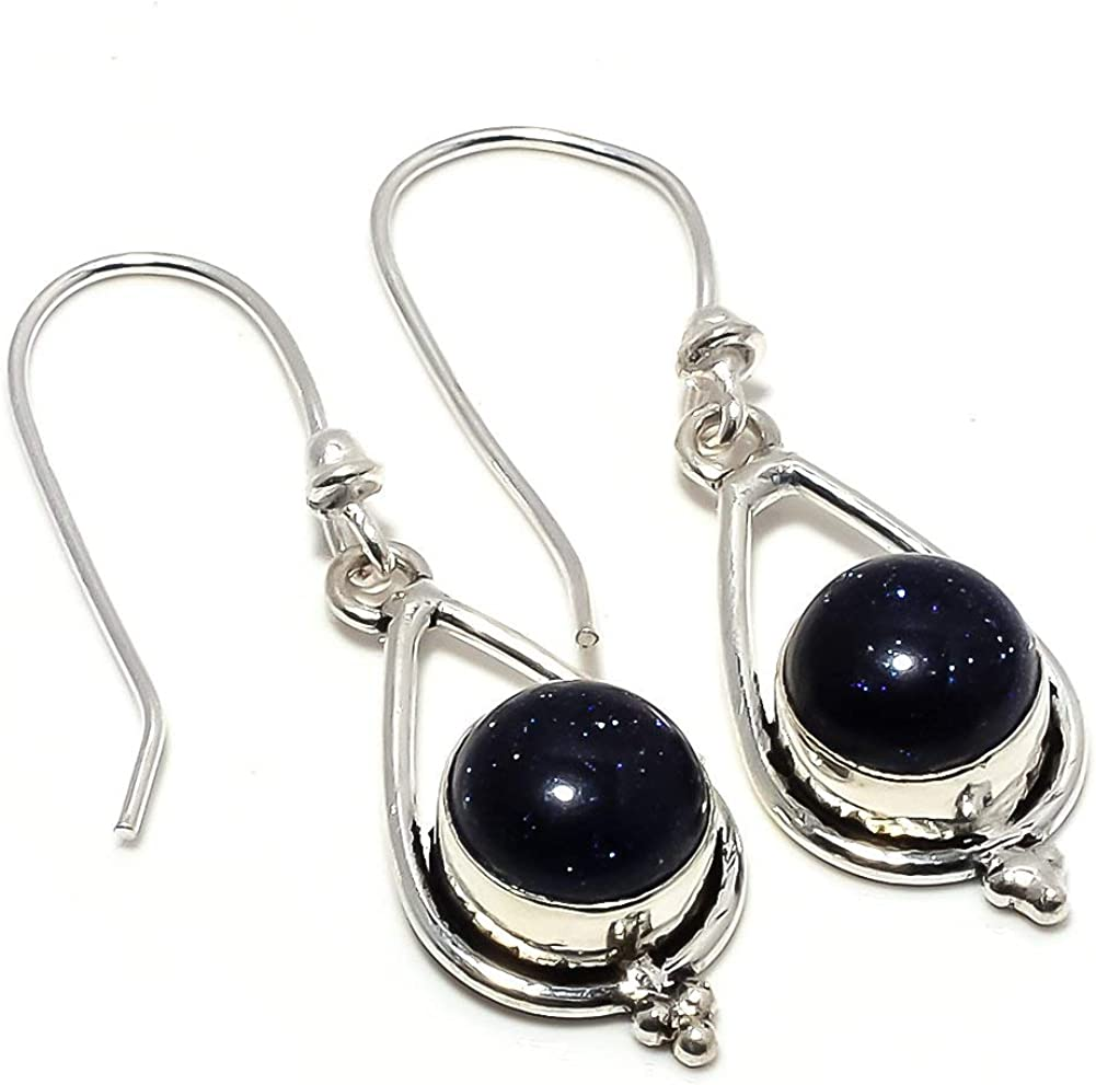 Top On Trending Black Sunstone Silver Plated 5 Grams Earring 1.5 Handmade Jewellry