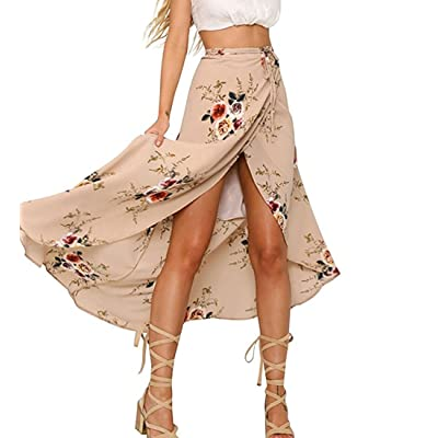 Askwind Women Boho Floral Print High Waist Summer Bech Wrap Maxi Skirt Cover Up