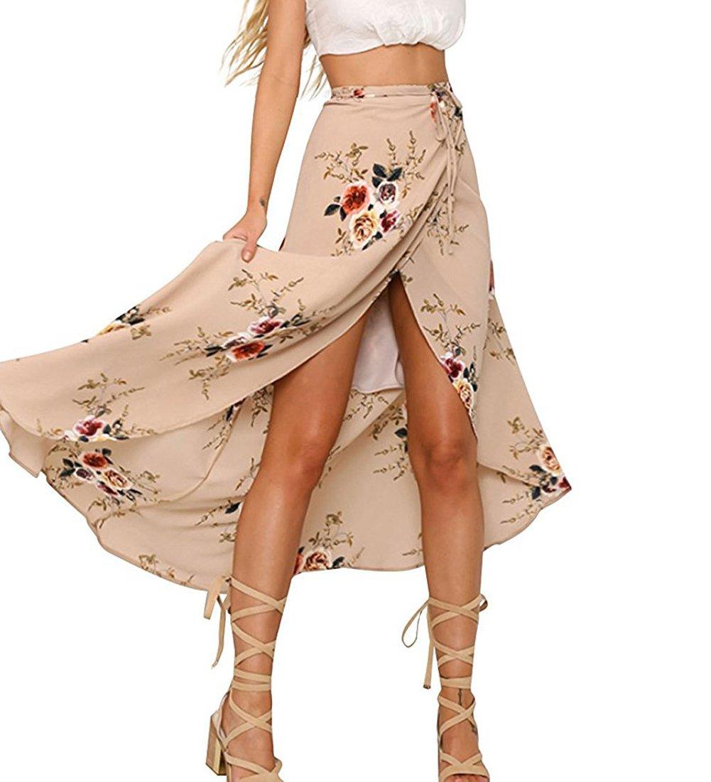 Women Boho Floral Print High Waist Summer Bech Wrap Maxi Skirt Cover Up (M, Pink)