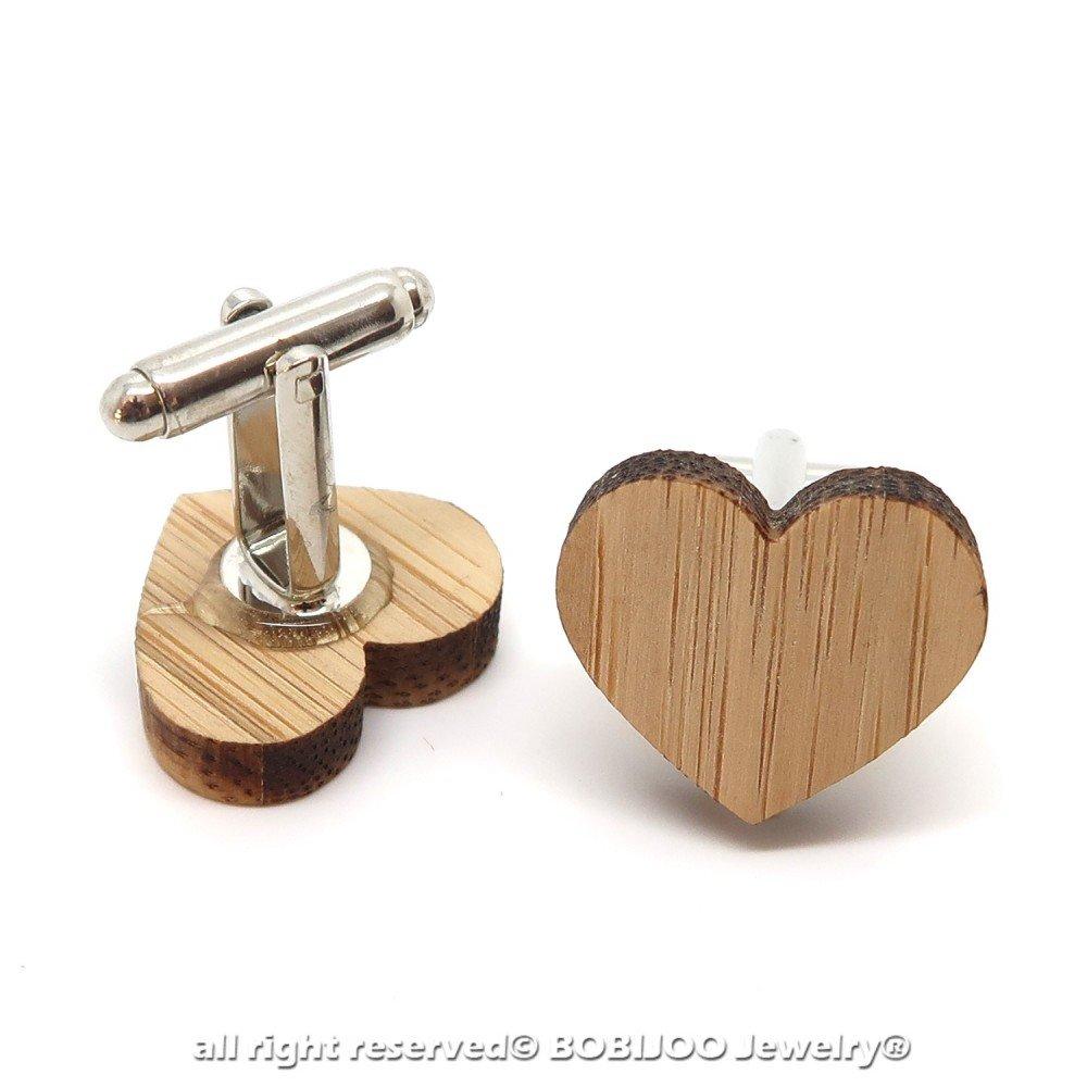 Paire Boutons de Manchette en Bois Naturel Coeur Amour Love Accessoire Homme BOBIJOO Jewelry