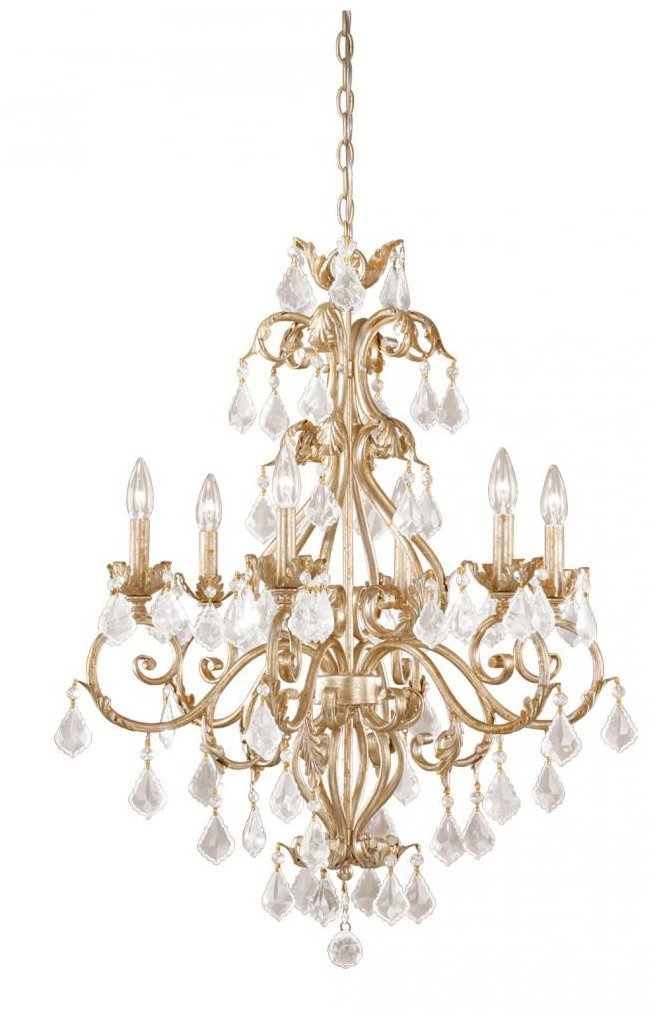 Vaxcel USA NCCHU006GW 6 Light Crystal Chandelier Lighting Fixture in White, Gold, Crystal