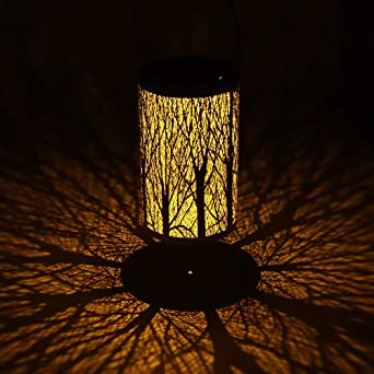 Linterna solar Luces de jardín solares al aire libre Encendido/apagado automático Linternas colgantes LED Silueta Luces de paisaje para Pathway Patio (white): Amazon.es: Iluminación