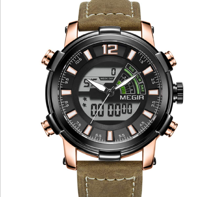 Amazon.com : Dual Display Digital Men Watch MEGIR Sport Analog Quartz Watches Relogio Masculino Reloj Hombre Army Military Wristwatches Hour (Black) ...
