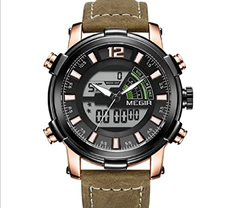Dual Display Digital Men Watch MEGIR Sport Analog Quartz Watches Relogio Masculino Reloj Hombre Army Military