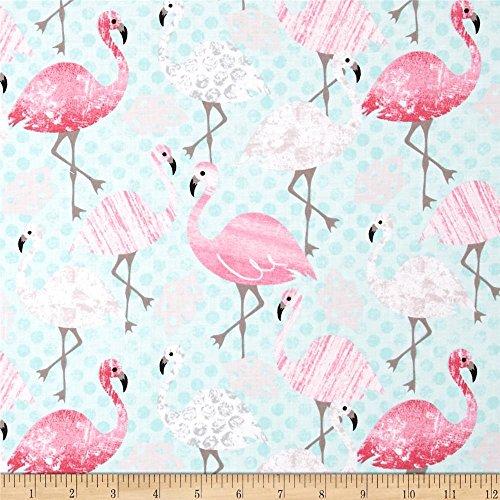 Timeless Treasures 0411298 Flamingos Aqua Fabric by the Yard (Fabric Flamingo)