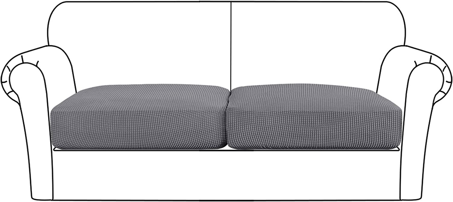 High Stretch Seat Cushion Cover Sofa Cushion Furniture Protector fot Sofa Seat Sofa Slipcover Sofa Cover Soft Flexibility with Elastic Bottom (2 Pieces Cushion Covers, Charcoal Gray)