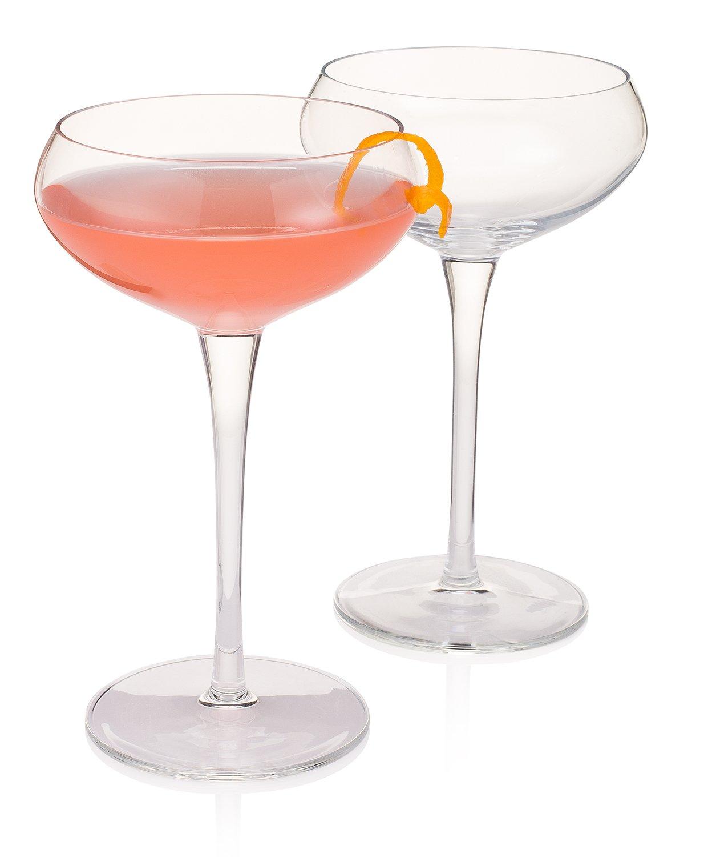 Modern Bartender's Best Stemmed Coupe for Cocktails (Gift Box Set of 2)