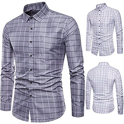 Overmal Mens Long Sleeve Oxford Formal Casual Plaid Slim Fit Tee Dress Shirts Blouse Top