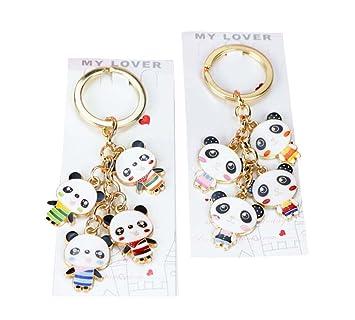 2 piezas lindo llavero de dibujos animados Panda llavero ...