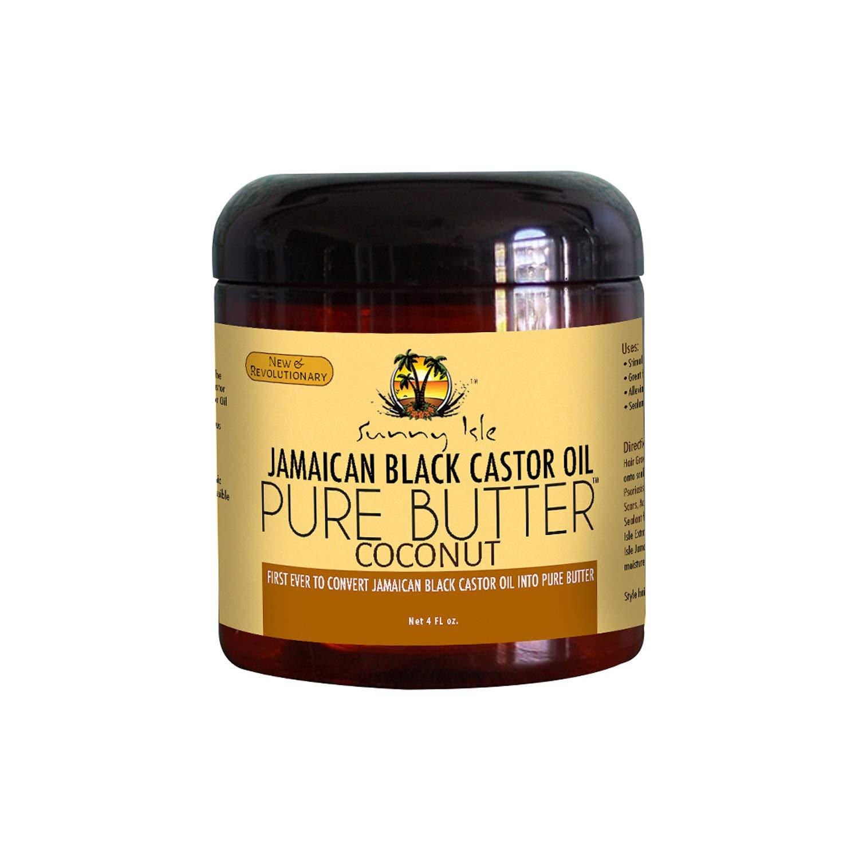 Sunny Isle Jamaican Black Castor Oil Pure Butter Coconut, Brown, 4 Fluid Ounce