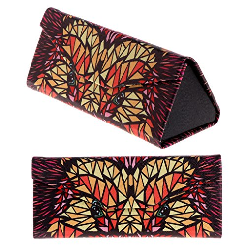 Amrka Triangle Foldable Glasses Case, Cartoon Animal Pattern Sunglasses Storage Box (Fox)